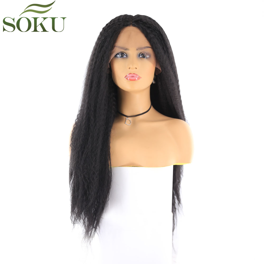 SOKU Wigs Blonde Middle-Part Lace-Front Brown Kinky-Straight Synthetic 26inch Black Women