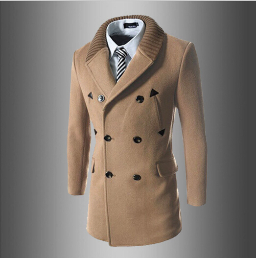 4b046dea0a04 Double Breasted Trench Coat Men 2015 New Autumn Winter Fashion Casaco  Masulino Wool Blend Knit Collar Men Trench Coat Jacket