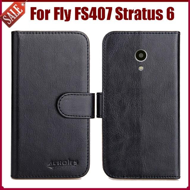 Chaud! Fly FS407 Stratus 6 etui nouveauté 6 couleurs haute qualité Flip cuir housse de protection pour Fly FS407 Stratus 6 coque de téléphone