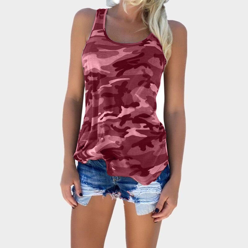 Womens Camouflage Hunting Vests Casual T Shirt Summer Camo Cami Sleeveless Tanks Top Vest Short  Running Fitness Yoga Clothes (11)