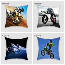 Fuwatacchi Motorcycle Christmas Decoration Printed Skiing Cycling Cushion Cover Pillow Sofa Decorative Extreme Sports Pillowcase