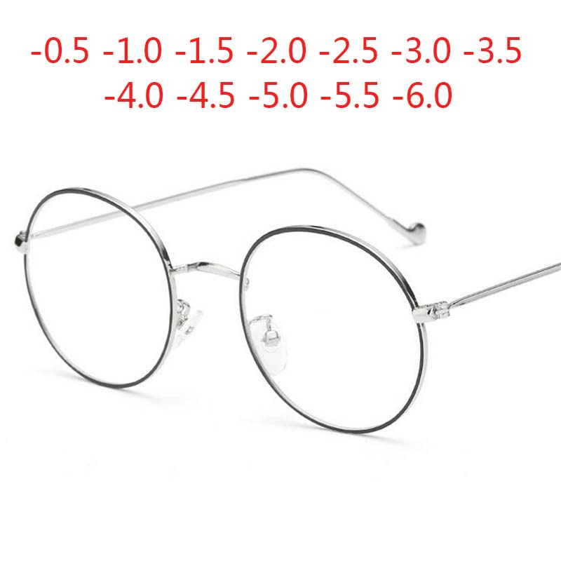 Women Round Metal Glasses Frame With Degree Men Ultralight Finished Myopia Glasses -0.5 -1 -1.5 -2 -2.5 -3 -3.5 -4 -4.5 -5 -6