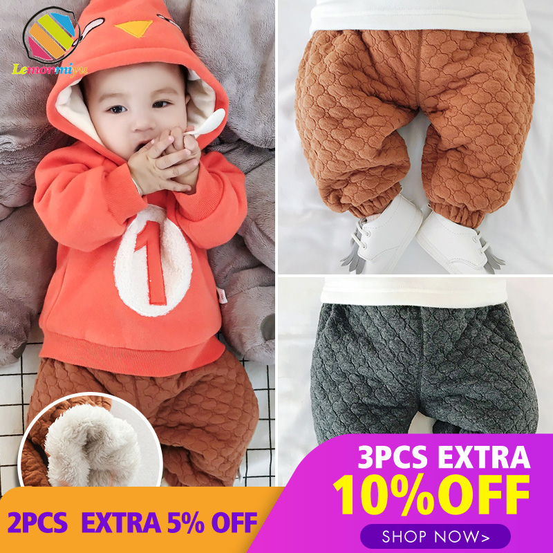 Lemonmiyu Winter Pants Trousers Baby Newborn Cotton Casual Solid Loose For Thicken 0-24m/baby-Boy