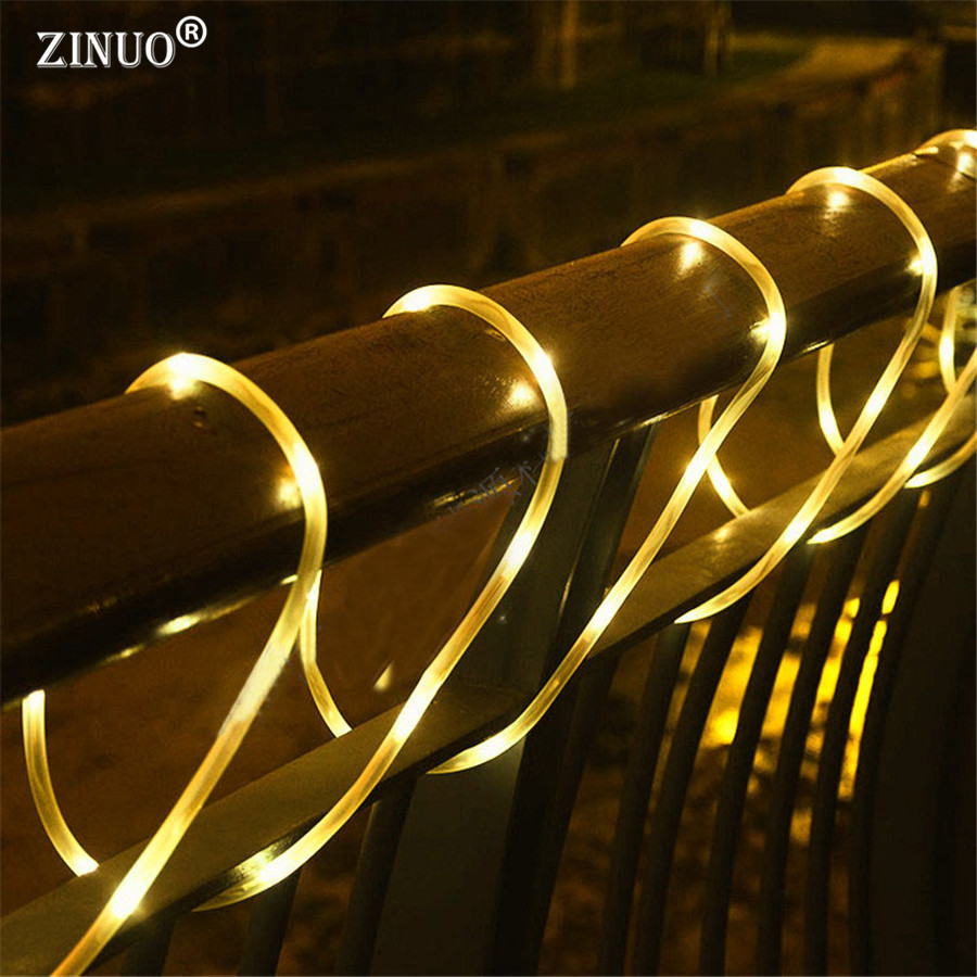 ZINUO 10M 100Leds <font><b>Outdoor</b></font> Garden Solar String Fairy Light Solar Christmas Garlands Copper Rope Tube String Light Fence Landscape