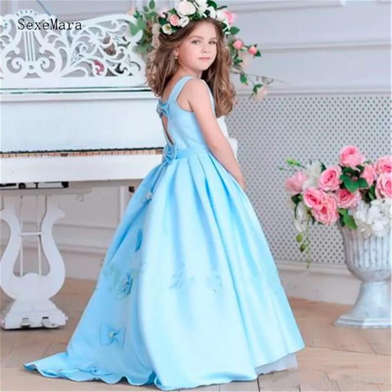 Robe de fille de fleur bleu ciel bien conçue pour une Occasion spéciale Adorable robe de bal de filles robe de princesse en Satin avec des arcs trou de serrure