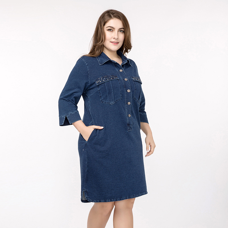 Brand High quality Women's Denim Dress Plus Size 3XL 4X 2018 Spring Summer Large Size Loose Diamond Denim Elegant Jeans Dresses
