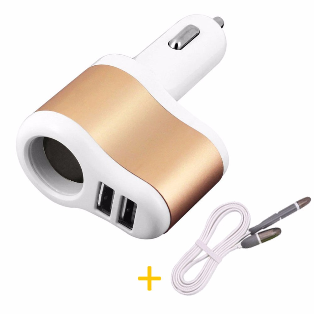 Quick Charge Car Charger Dual USB Car Cigarette Lighter Mobile Phone Charger in Car with 2 in 1 USB Charger Cable for Iphone