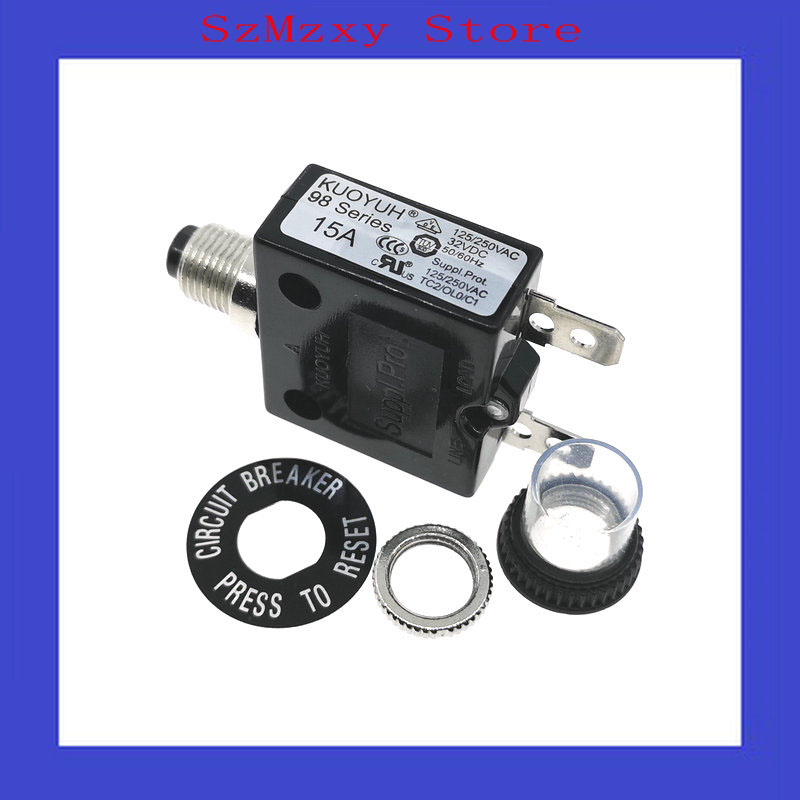 1PCS Circuit Breakers 98 Series 15A KUOYUH  125/250VAC1PCS Circuit Breakers 98 Series 15A KUOYUH  125/250VAC