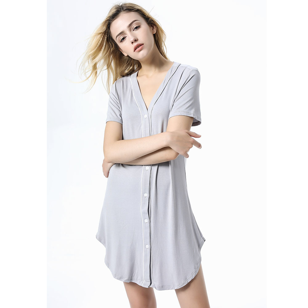 Qianxiu women modal   nightgown  &  sleepshirts   sexy v-neck short sleeve button sleepwear for woman solid colors nightdress homewear