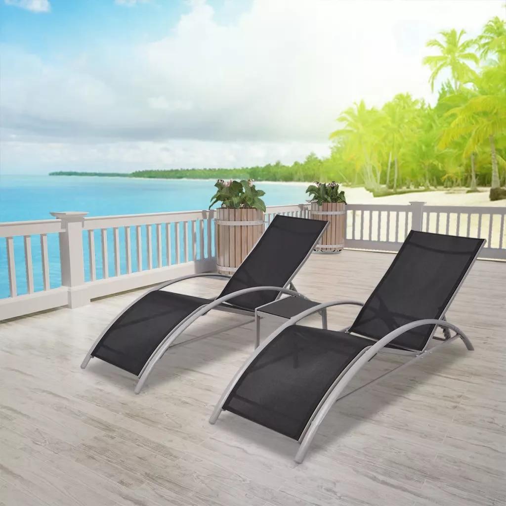 Уличное садовое кресло для отдыха шезлонг со столом алюминиевый черный надувной шезлонг уличные стулья и мебель