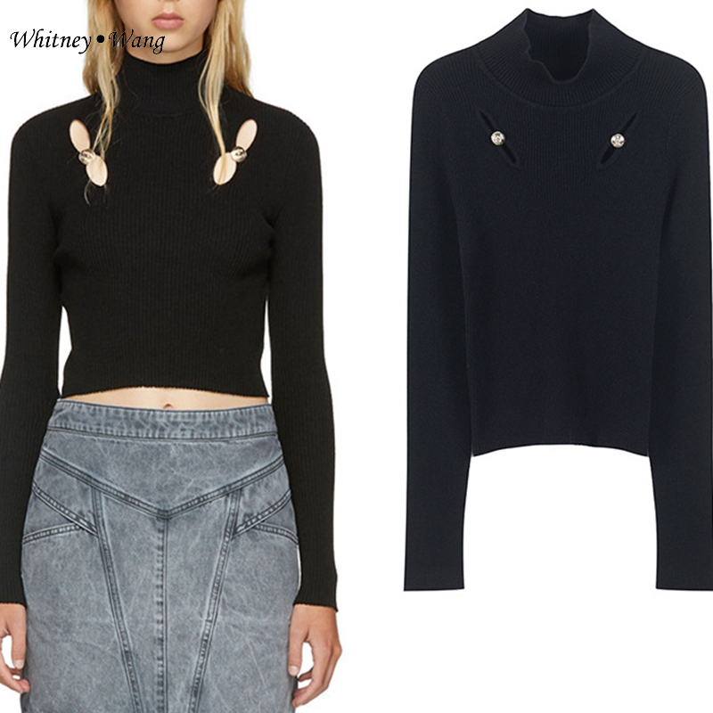 Ww Chandail Mode Streetwear Wang Femmes Whitney Sexy Femme 2018 Creux Out Boutons Pull 1907 Automne Hiver Jumper 80mNwvn