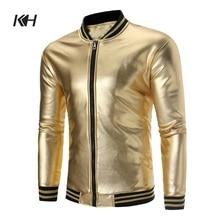 KH New Arrival Gold Bomber Jacket Coat Nightclub Shiny Hip Hop Casual Overcoat F