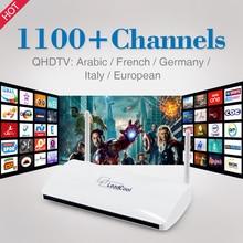 Inteligente Android TV Box con 1 Año de Suscripción IPTV Qhdtv Árabe Francés Italia Alemania Europa Canales Europa Set Top caja