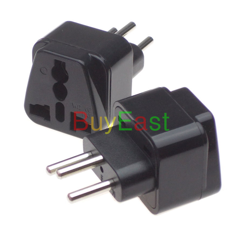 2 X SWISS Switzerland 3-pin Power Plug Adapter Convert EU/GE/US/AU/UK/China.... World Plug AC100~250V 10A Black Color