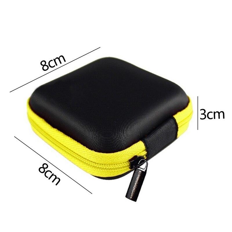 Чехол-контейнер для монет, наушников, защитная коробка для хранения, цветные наушники чехол для путешествий, сумка для хранения наушников, кабель для передачи данных, зарядное устройство - Цвет: Yellow Square 8x8cm