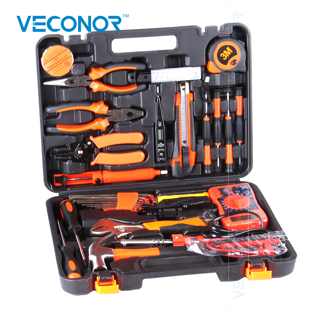 Veconor 35pcs electrician hand tool set kit household tool kit saw screwdriver hammer tape measure wrench plier widely used lole капри lsw1207 lotus capri m red sea