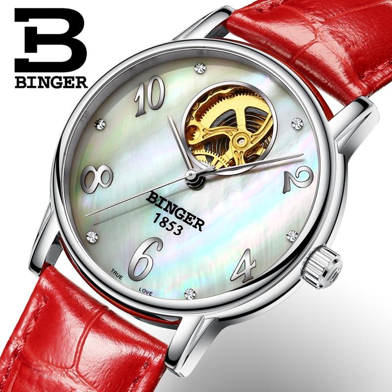 Switzerland Binger Women's watches Skeleton luxury clock leather strap auto Self-wind Tourbillon mechanical Wristwatches B553-2
