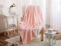 Ev Tekstili Avrupa Tarzı Pembe Örme Atmak Battaniye Kanepe/yatak/ev Battaniye Kış için Yüksek Kaliteli % 100% Pamuk toptan