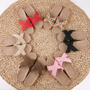 LCIZRONG Summer 21 Colors Flax Home Slippers Men 35-45 Size Beach Floor Comfortable Flat Slippers Unisex Bedroom Flip Flops 1