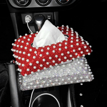 где купить Korean Pearl Diamond Car Towel Box Fashion Lady Car Exquisite Tissue Box Creative Seat Cute Car Starry Tray Towel Box по лучшей цене