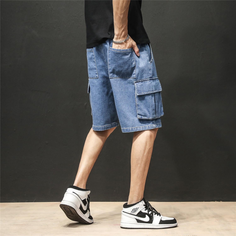 Men's New Summer Bermuda Biker Jeans Short Fashion Streetwear Men Hip Hop Loose Drawstring Casual Blue Denim Beach Shorts Cotton