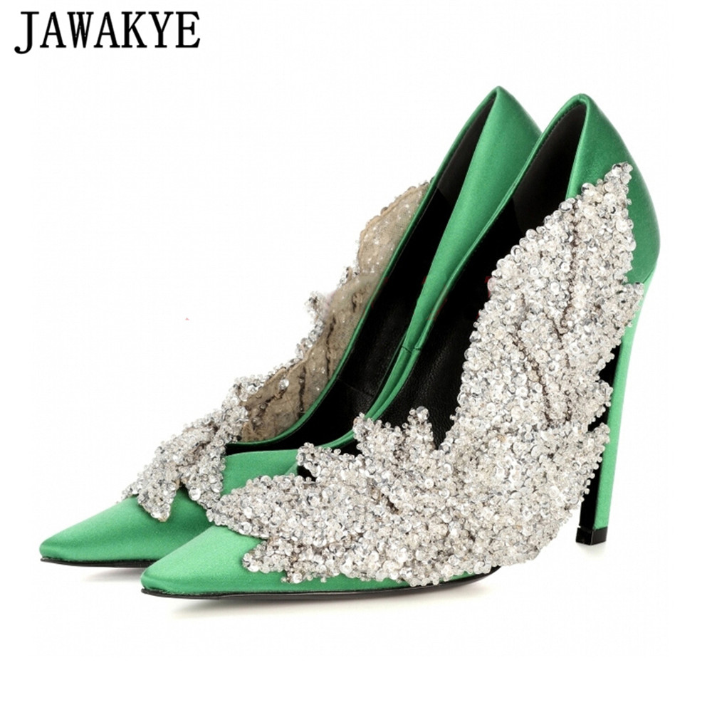 JAWAKYE Runway style Rhinestone Women Party Pumps Silk Pointed Toe Stiletto high Heels Elegant Lady Crystal