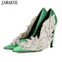 JAWAKYE Runway style Rhinestone Women Party Pumps Silk Pointed Toe Stiletto high Heels Elegant Lady Crystal flower Wedding Shoes