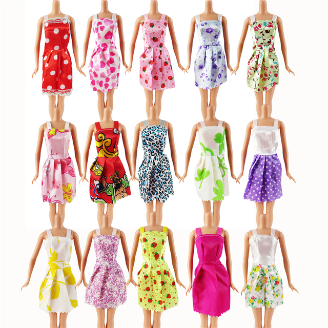 Random 12 PCS Mixed Sorts Barbie Doll Fashion Clothes Beautiful Handmade Doll Party Dress For Barbie Dolls Girl Gift Kid's Toy