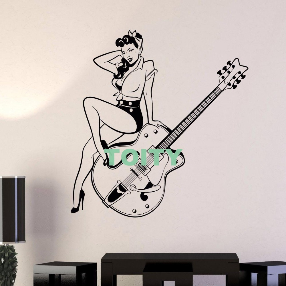 Vinyl Wall Decal Pin Up Style Retro Girl Guitar Music