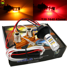Clignotant de voiture, deux pièces, Canbus LED 1156 BA15S BAU15S P21W PY21W LED 42SMD T20 7440 W21W LED rouge ambre avec résistances, double Mode DRL