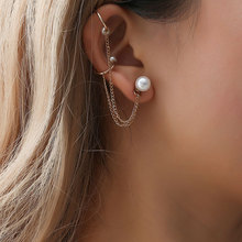 цена на 1 Piece New Punk Ear Bone Clip Temperament U Shape Simulated Pearl Ear Cuff Clip Earring For Women Jewelry