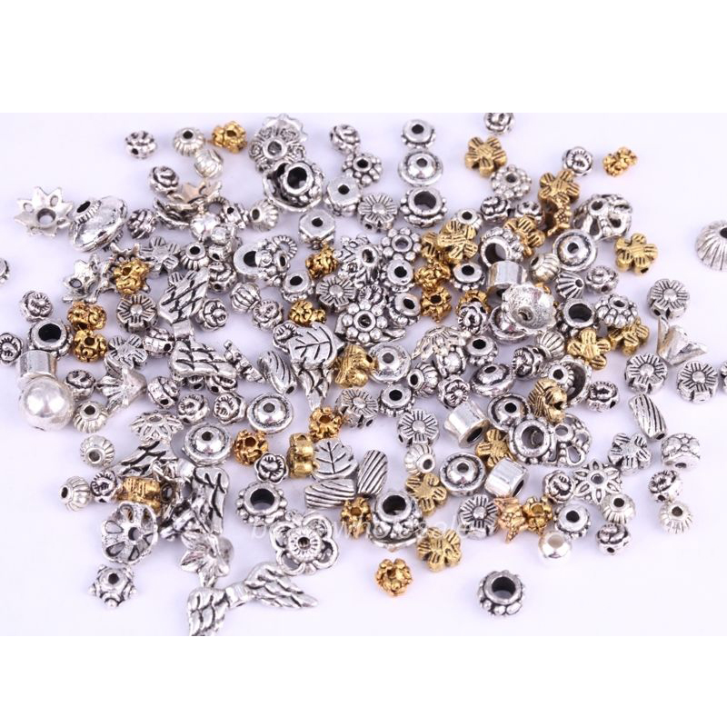 Uneven Mixed Antique Silver Color Space Loose Metal Beads ...