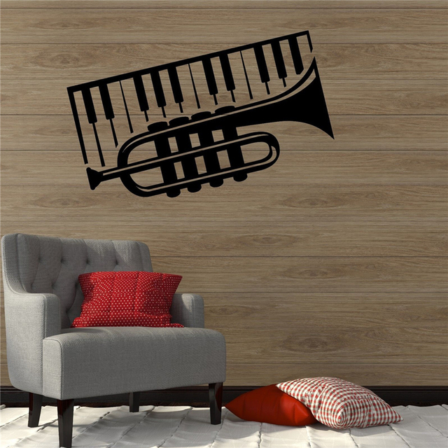 Trumpet Piano Musical Instrument Music Decor Wall Decal Vinyl ...