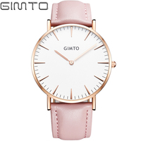 2016 Luxury Brand GIMTO Sport Watches Women Leather Ultra Slim Gold Quartz Watch Male Female Clock