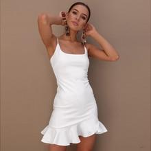 New Sexy Ruffle Strap Mini Dress Women Skinny White Mermaid Dresses 2019 Summer Beach Bodycon Party Vestidos Plus Size XXL Black