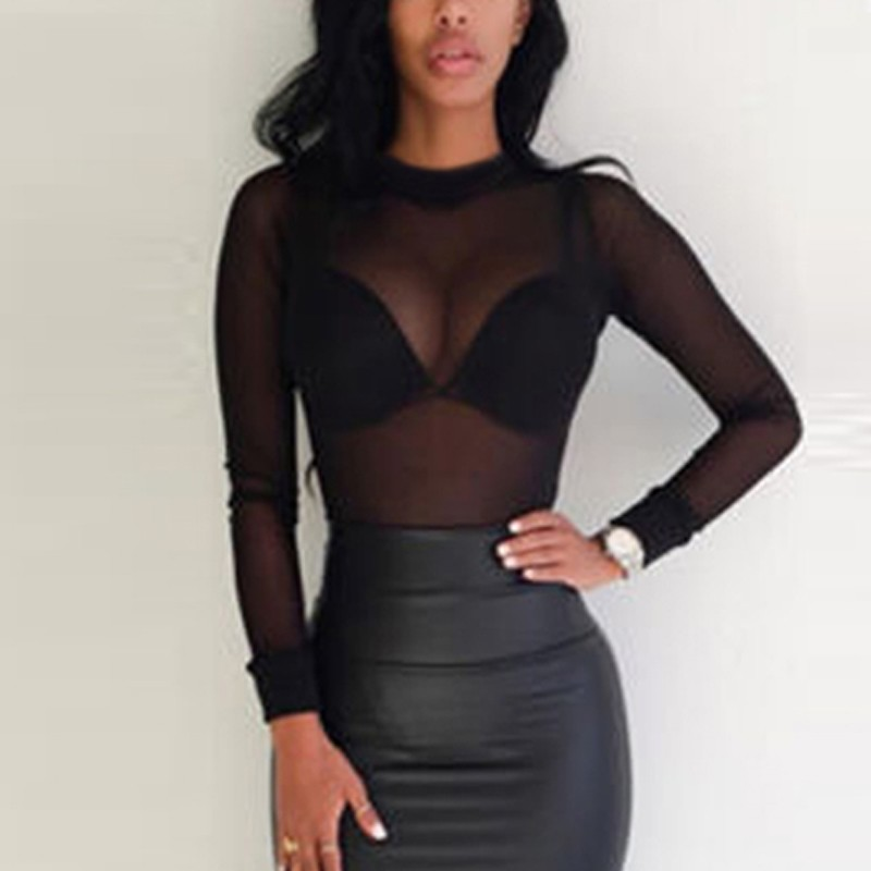 Sexy Women T Shirt See Through Transparent Mesh Tops Long Sleeve Sheer Slim Ladies Turtleneck T Shirt