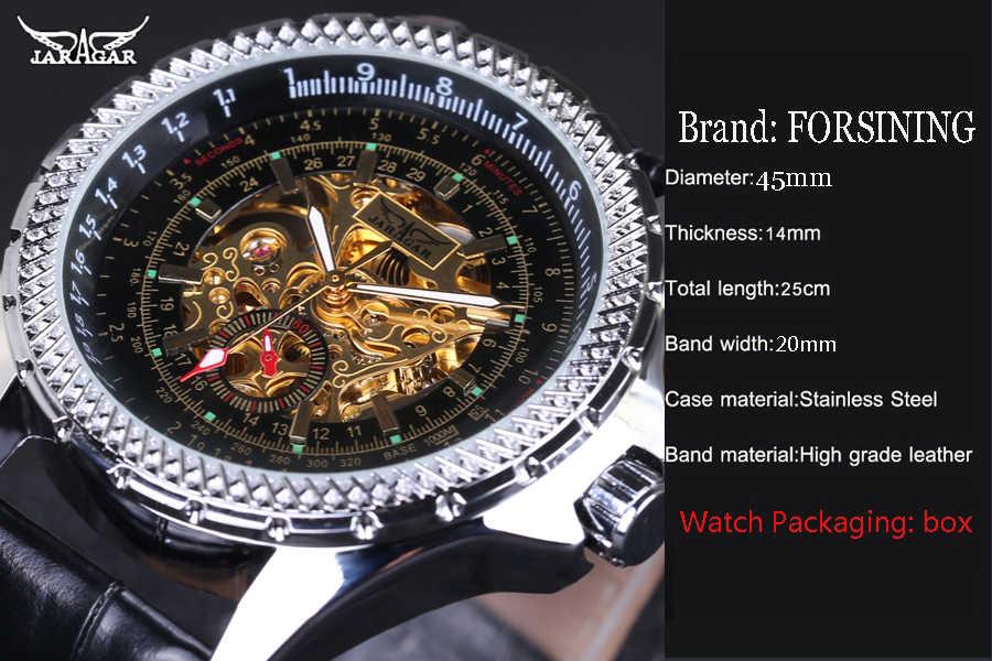 Jaragar高級腕時計男性シルバーレザー機械式腕時計自動腕時計メンズスケルトンドレス腕時計カジュアル男性ビジネス腕時計