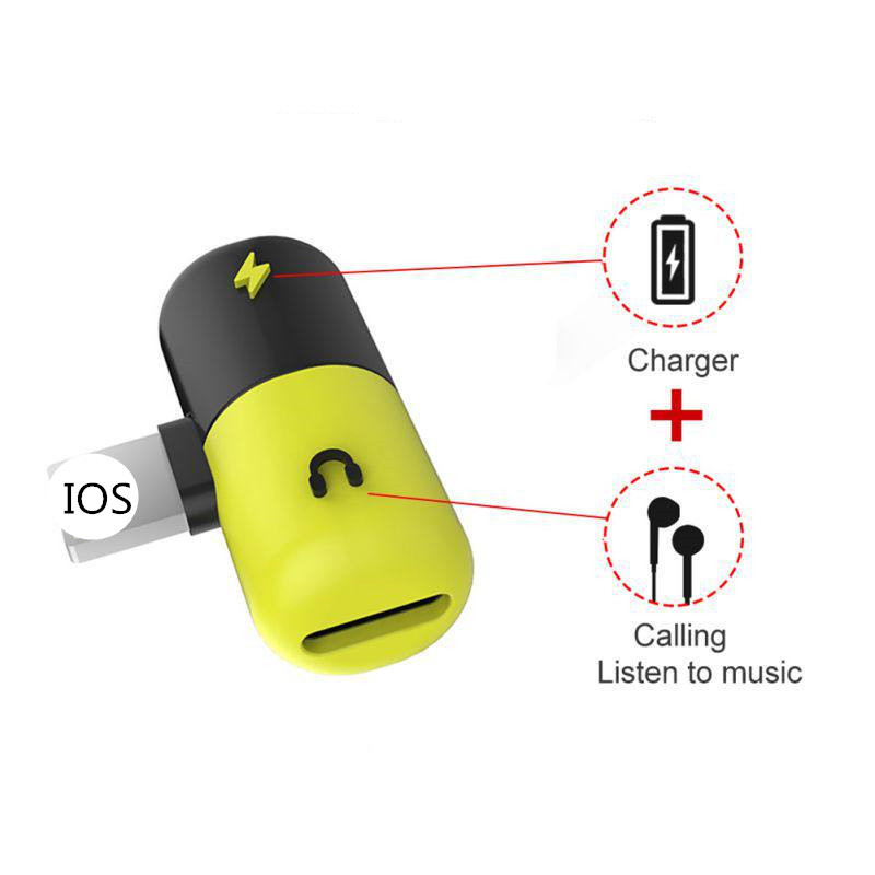 2 In 1 Capsul Bolus Audio Adapter For IPhone 7 8 Plus X Charging Adapter Charger Splitter Headphone Support Call Music Convert