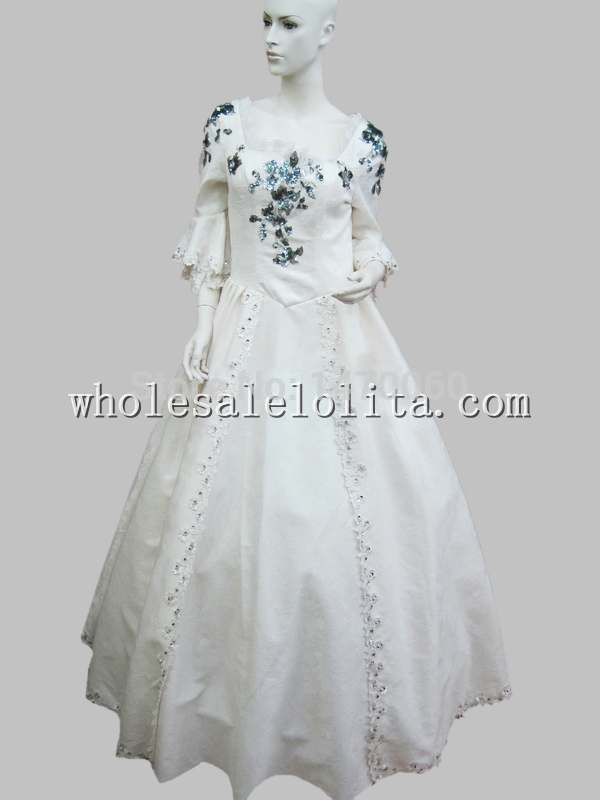 European Court Vintage Dress Marie Antoinette Era White Ball Gown