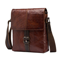 Vintage Plaid Style Men Oil Wax Genuine leather Crossbody Bag New Top Quality Shoulder Messenger Business Tablet PC Bags