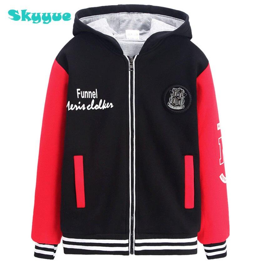 Free shipping hooded sweatshirt for big kids boy sweatshirt thick pullover 2018 winter warm big boys hoodies