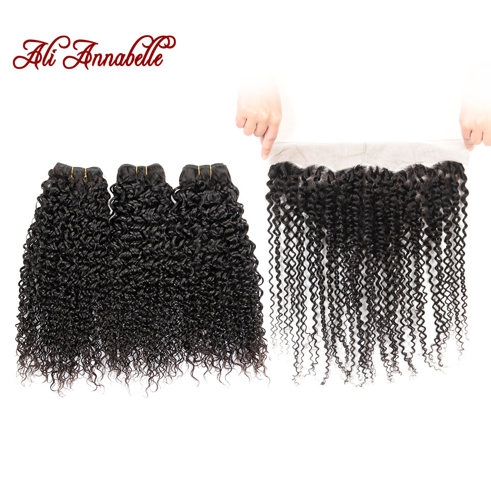ALI ANNABELLE Human Hair Bundles With Frontal Closure Peruvian Kinky Curly Hair Weave 3 Bundles With