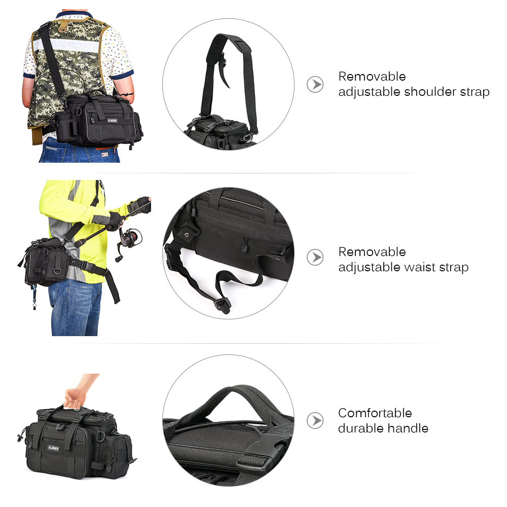 20cm 17 Leo Outdoor Sports Fishing Bag Large Capacity Multifunctional Bag Waist Pack Lures Fishing Tackle Gear Bags 40