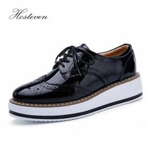 Image 2 - Hoستيفن أحذية نسائية المتسكعون عادية جلد طبيعي ثقب الأحذية الأخفاف السيدات حذاء امرأة الإناث الشقق الأم الأحذية