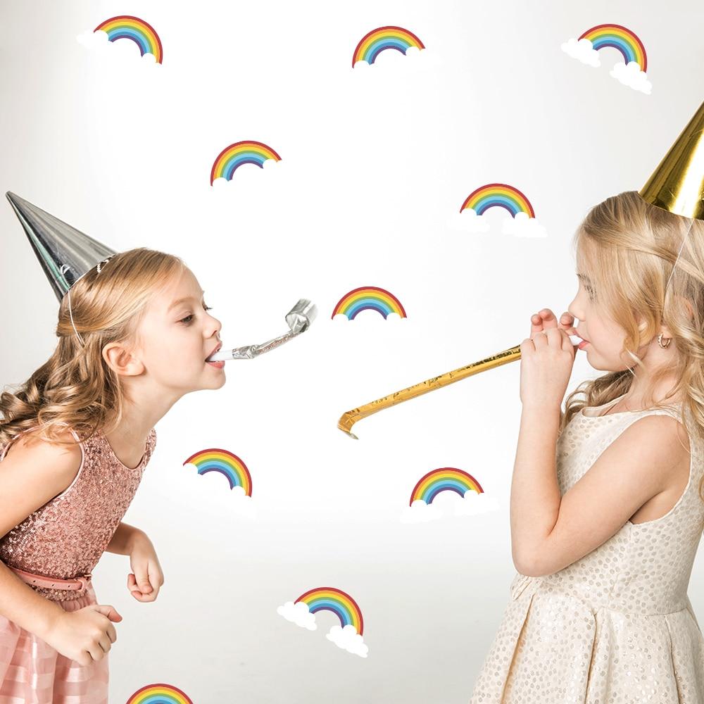 Funlife Watercolor Rainbow Clouds DIY Waterproof Self-Adhesive PVC Wall Art Wall Stickers Decor for Kids Room Bedroom PA076