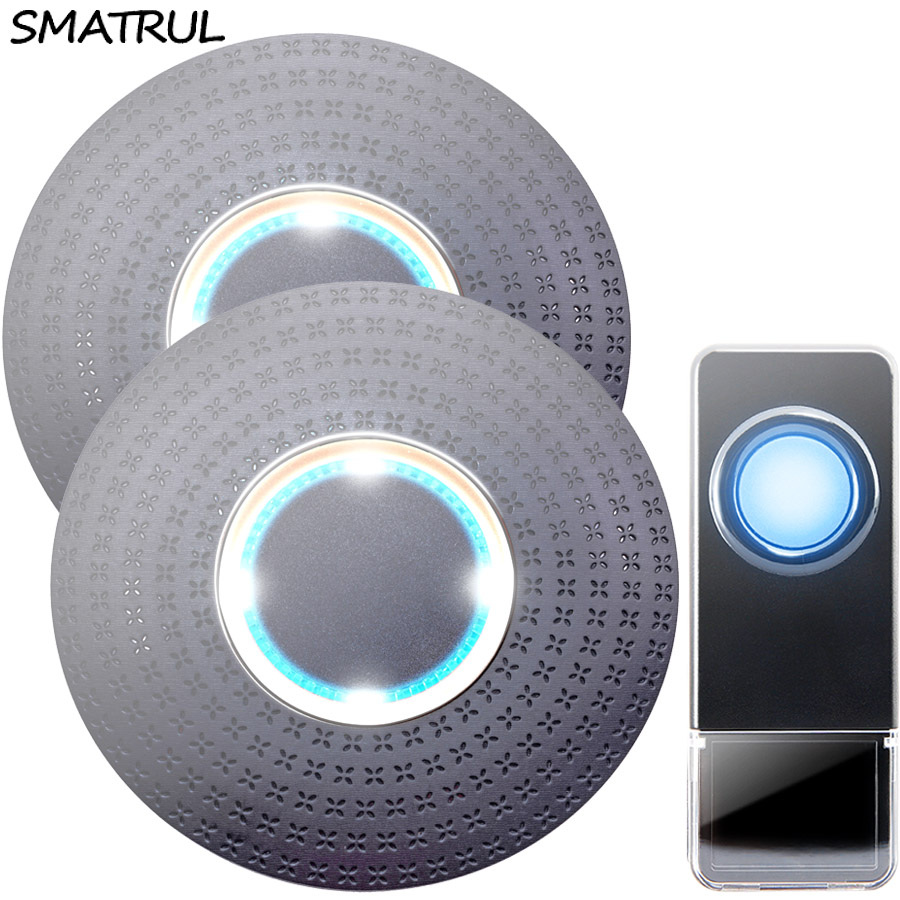 SMATRUL New Waterproof Wireless Doorbell EU Plug 300M Remote smart Door Bell Chime ring  1 button  2 receiver no battery Deaf Gorgeous lighting black