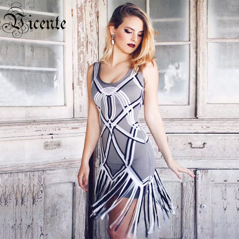 Free Shipping! 2018 New Luxe Inspired Patchwork Double Straps Tassels HL Celebrity Party Bandage Dress