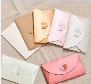 EN002 1117cm Pearlized Heart Shape Paper Gift Envelopes For Wedding Invitation Card