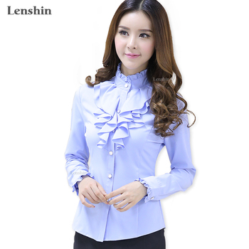 Lenshin White Blouse Fashion Female Full Sleeve Casual Shirt Elegant Ruffled Collar Office Lady Tops Women Wear 1