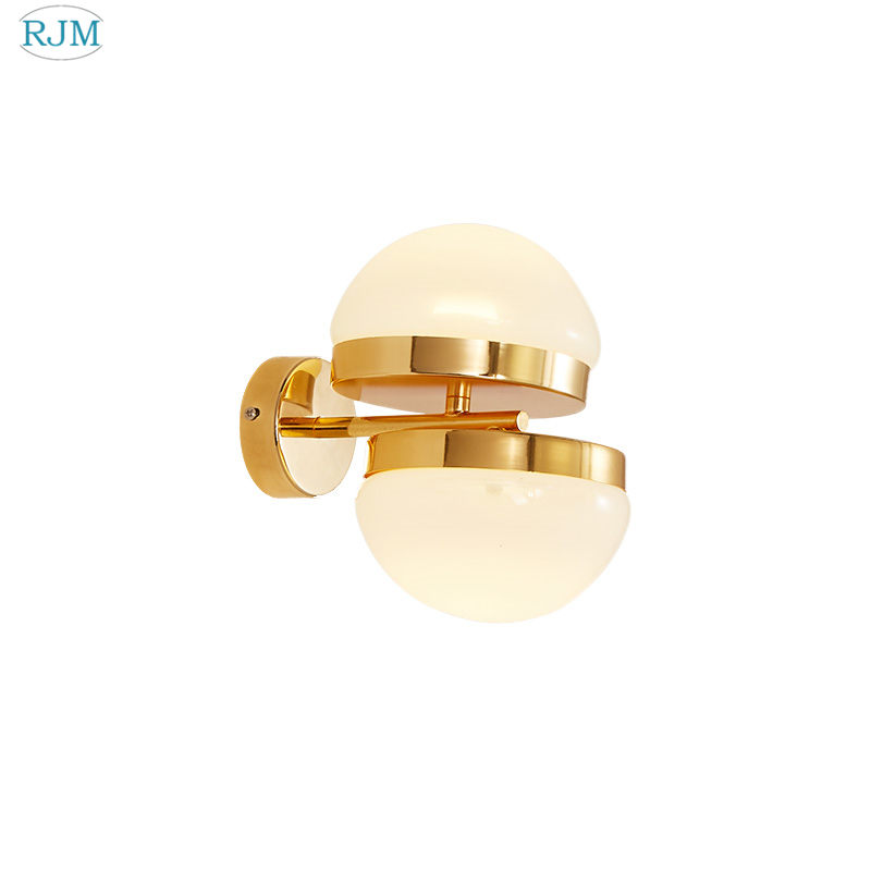 Modern Simple Glass Golden Wall Lamps Creative Personality for Bedroom Bedside Living Room Hotel Staircase Aisle LED LightingsModern Simple Glass Golden Wall Lamps Creative Personality for Bedroom Bedside Living Room Hotel Staircase Aisle LED Lightings